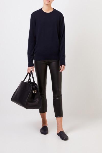 Cashmere-Pullover 'Olive' mit Rippstrickdetail Marineblau