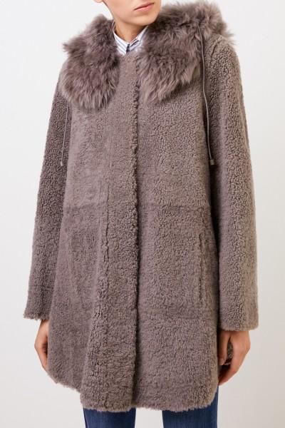 Yves Salomon Reversible Lambskin coat with hood Brown