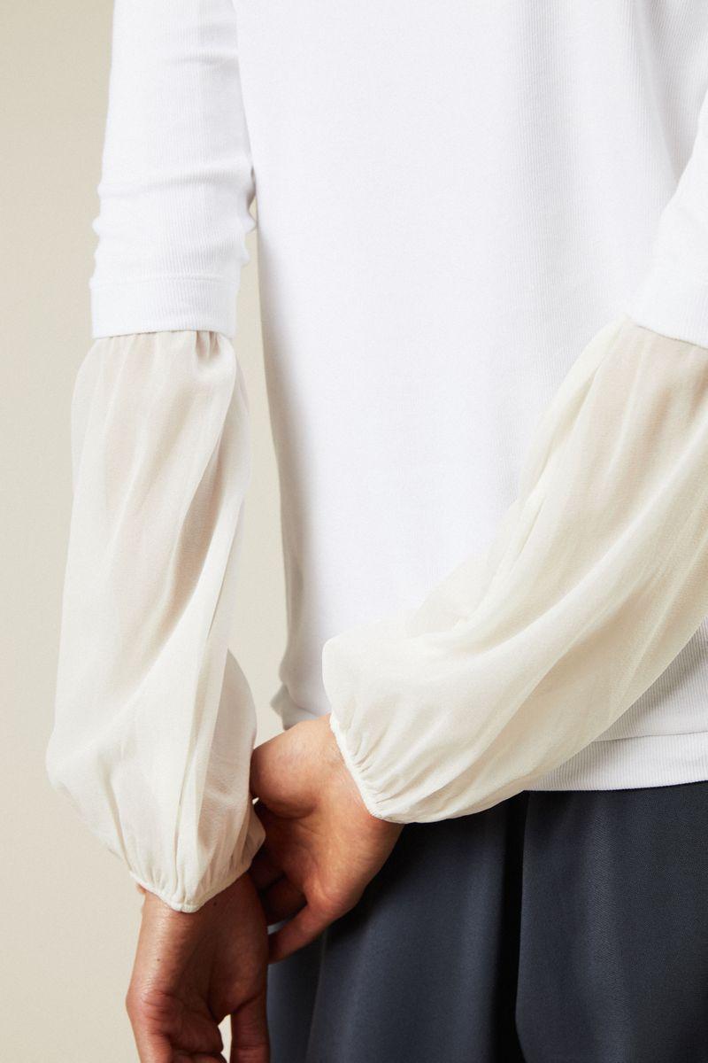 Baumwoll-Seiden-Longsleeve Weiß