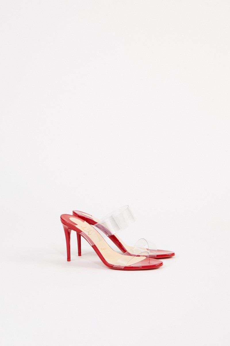 buy online bffbe e5bda Mules'Just Nothing 85 Patent' Rot/Transparent