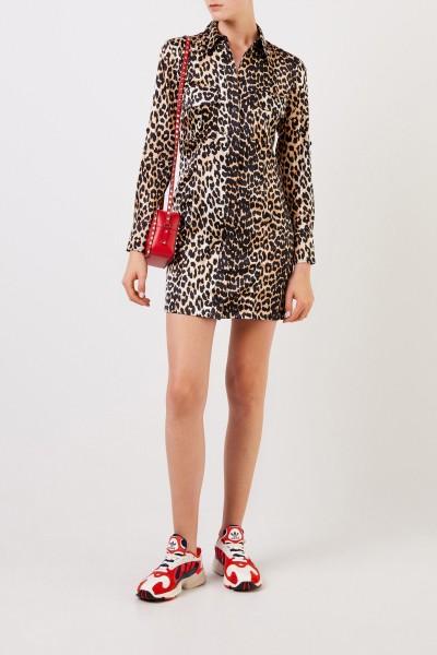 Silk shirt dress with leoprint Multi