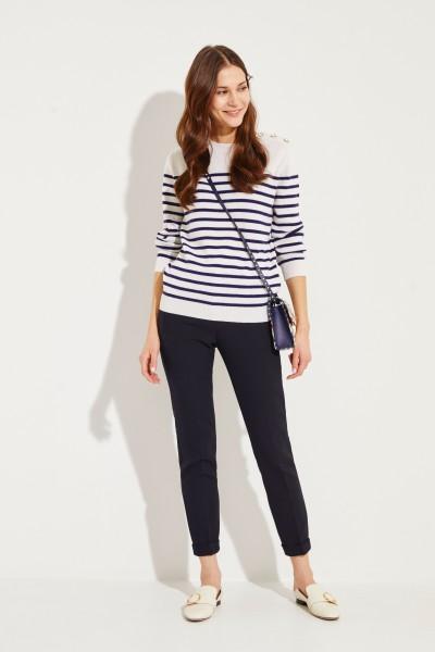 Cashmere Pullover mit Perlenverzierung Marineblau/Crème
