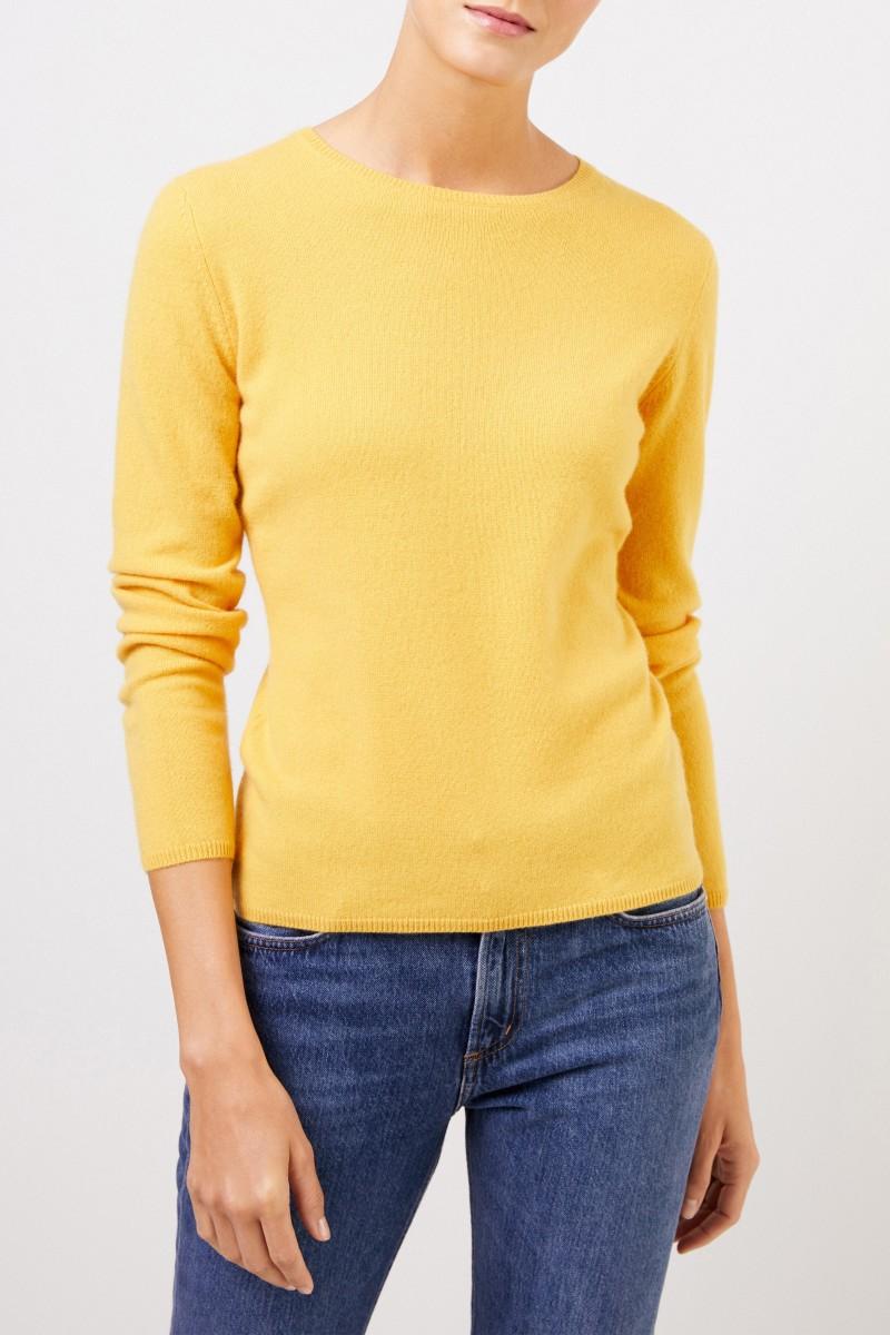 Cashmere-Pullover mit R-Neck Gelb