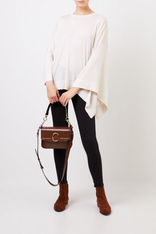 Asymmetrischer Woll-Seiden-Pullover Crème