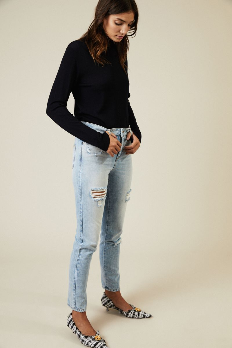Destroyed High-Waist-Jeans Blau