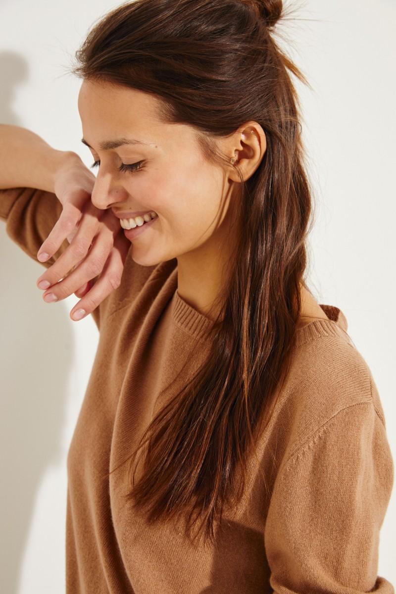 Klassischer Cashmere-Pullover Caramel