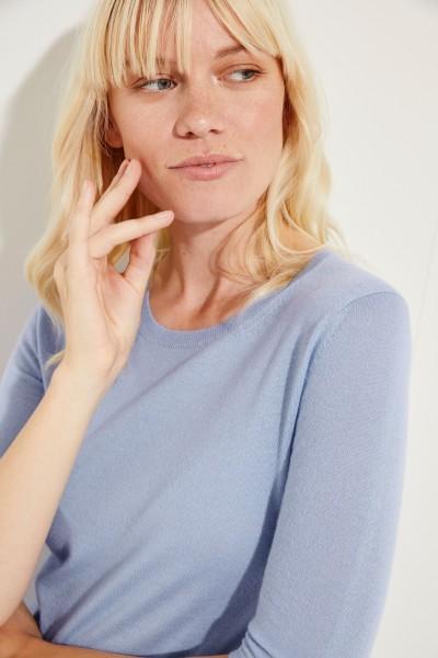 Kurzarm Cashmere-Pullover 'Lynn' Blau