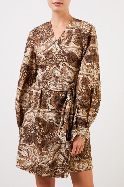 Ganni Kurzes Wickelkleid mit Print Beige/Multi