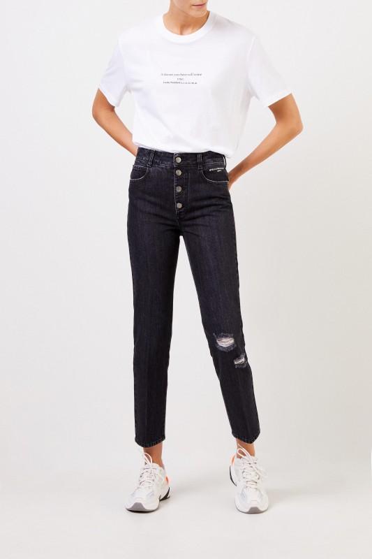Stella McCartney Jeans im Used-Look Schwarz