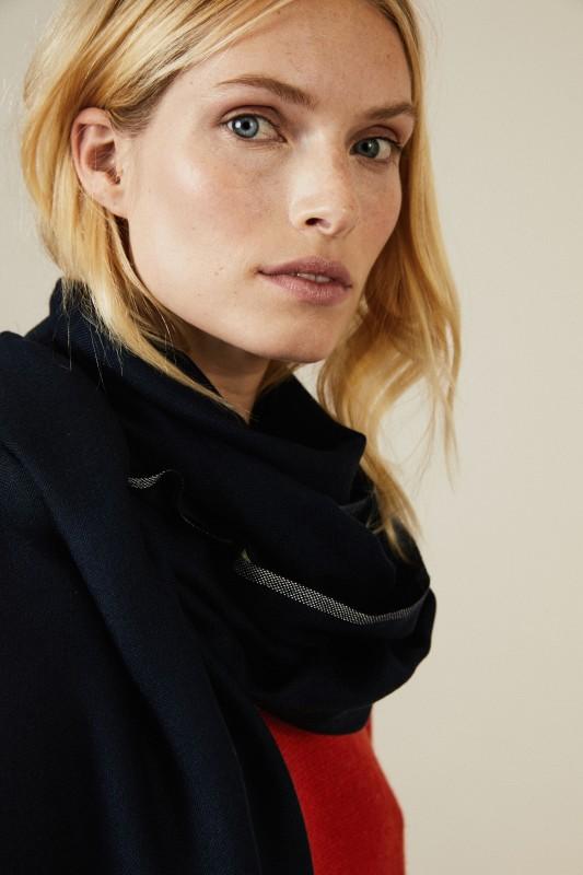 Cashmere-Schal mit Lurexfäden Blau