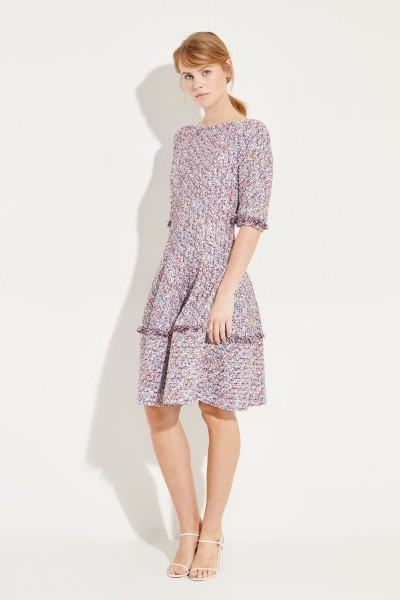 Tweed-Kleid mit Fransen Blau/Multi