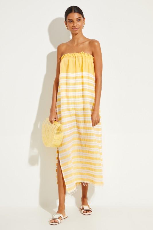 Baumwoll-Kleid 'Doro Strapeless' mit Streifen Gelb/Weiß