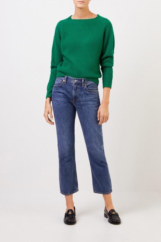 Uzwei Rippstrick-Cashmere-Pullover Grün