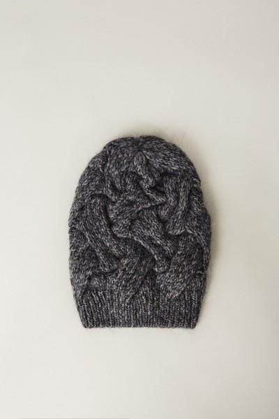 Woll-Seiden-Strickmütze Grau