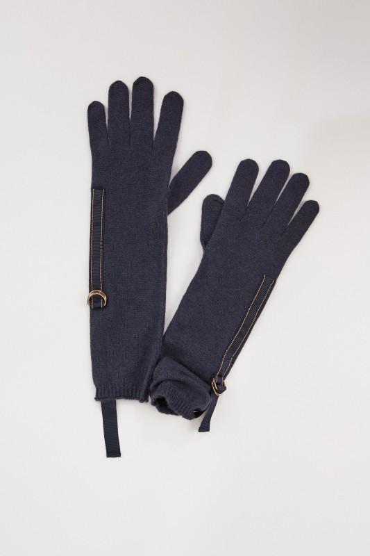 Brunello Cucinelli Cashmere Handschuhe mit Perlen-Details Marineblau