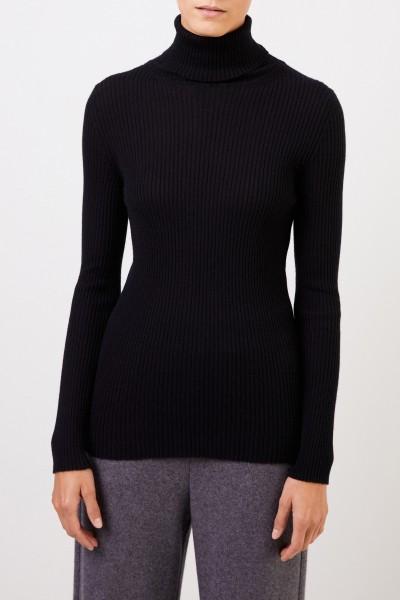 Iris von Arnim Ribbed cashmere sweater 'Lawa' with turtleneck Black