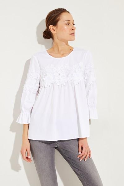 Bluse mit Spitzendetails Weiß