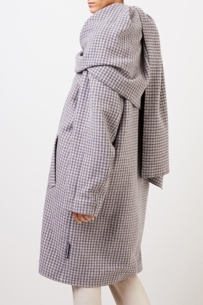 Balenciaga Woll-Mantel mit Schaldetail Grau