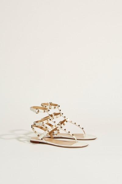 Leder-Sandale mit Nieten Weiß