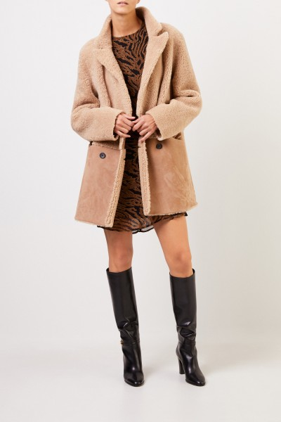 UNGER Double-breasted reversible lambskin coat Beige