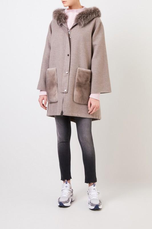 Woll-Cashmere-Mantel mit Nerzbesatz Taupe
