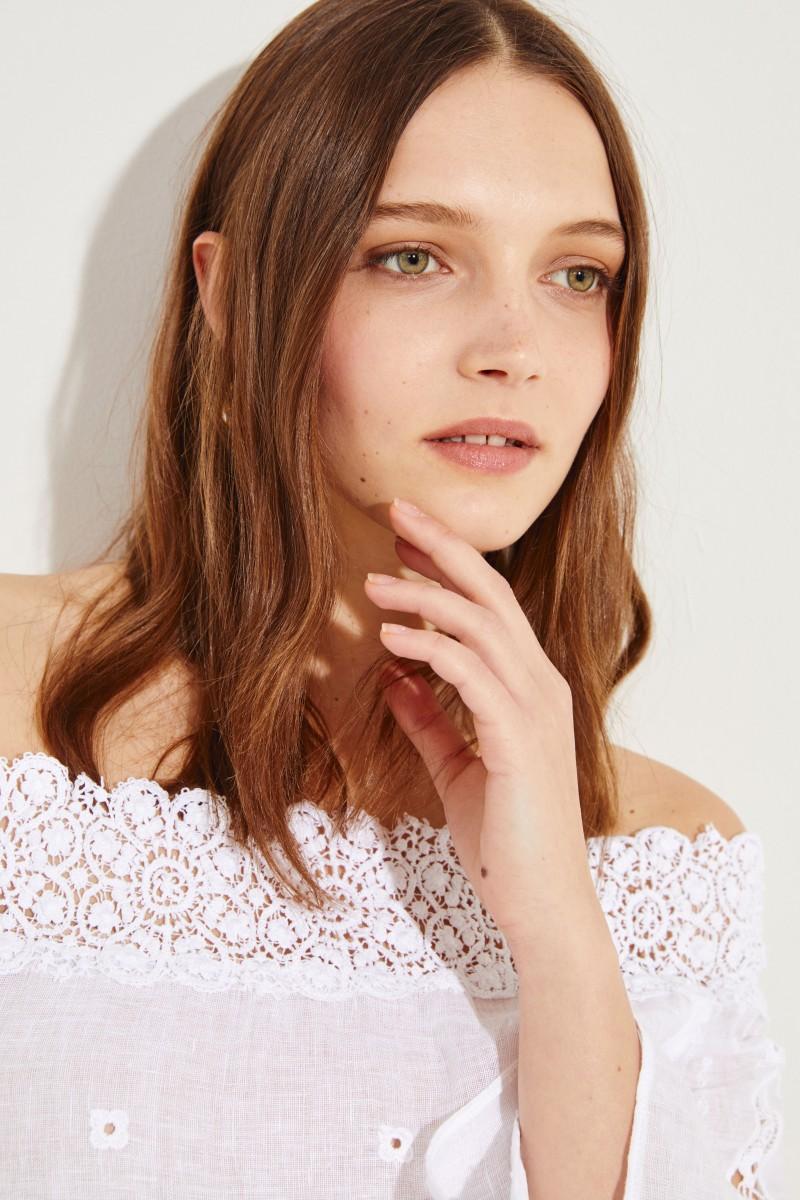Minikleid mit Volant-Saum 'Asti' Weiß