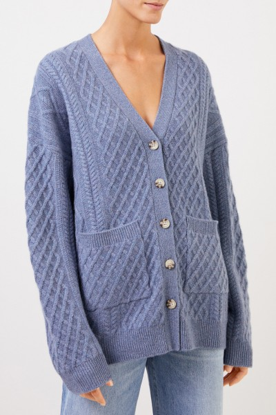 Uzwei Cashmere cardigan with cable stitch Blue Melange