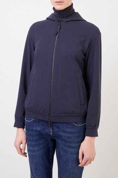 Brunello Cucinelli Cotton jacket with hood Blue