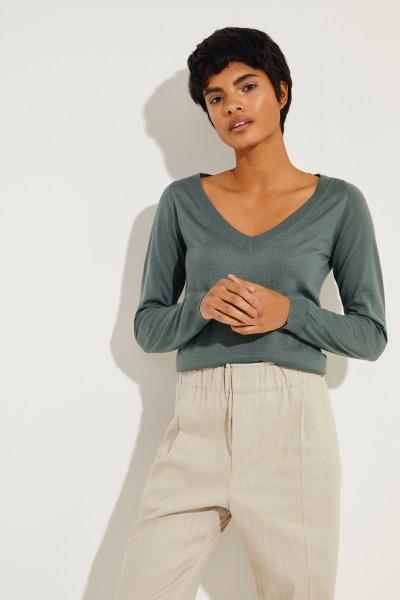 Cashmere-Seiden-Pullover Grün