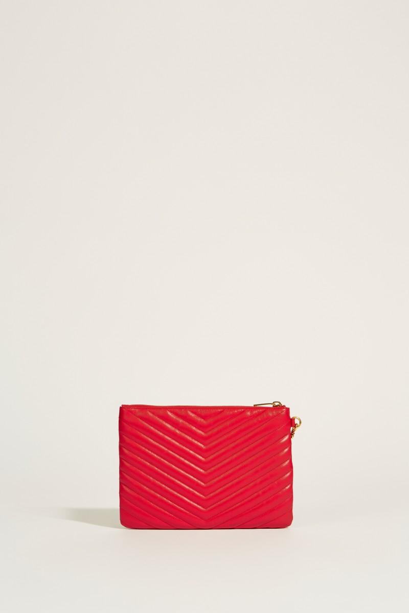 Gesteppte Leder-Clutch mit Logo Rot