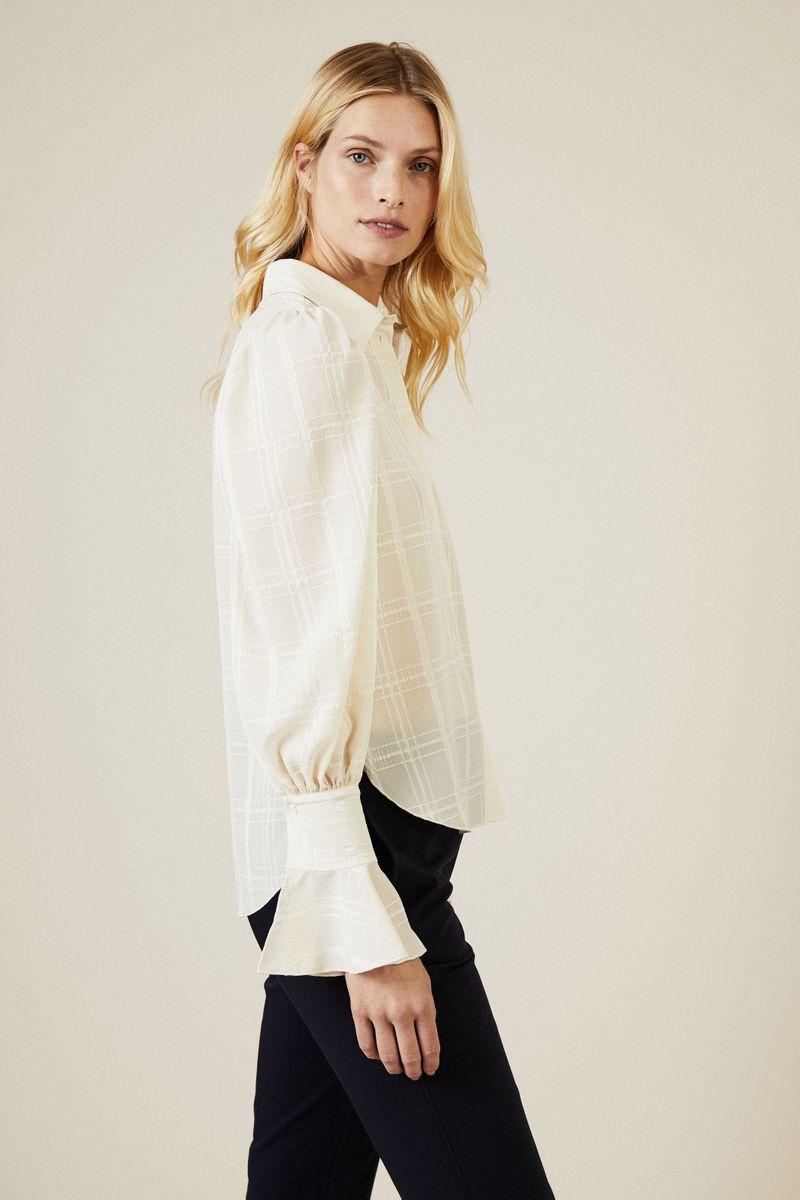 Bluse mit Glockenärmel und Volant-Details Weiß