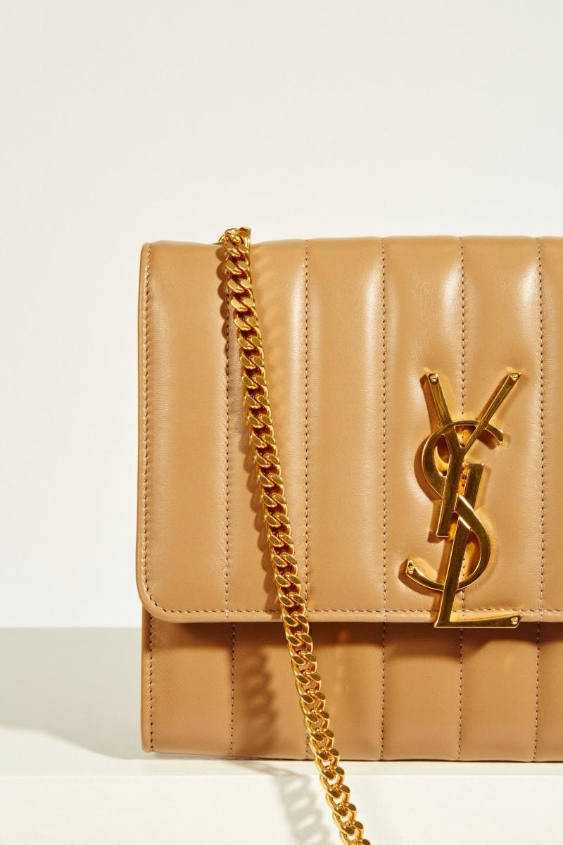 Umhängetasche 'Chain Wallet' mit Steppung Beige
