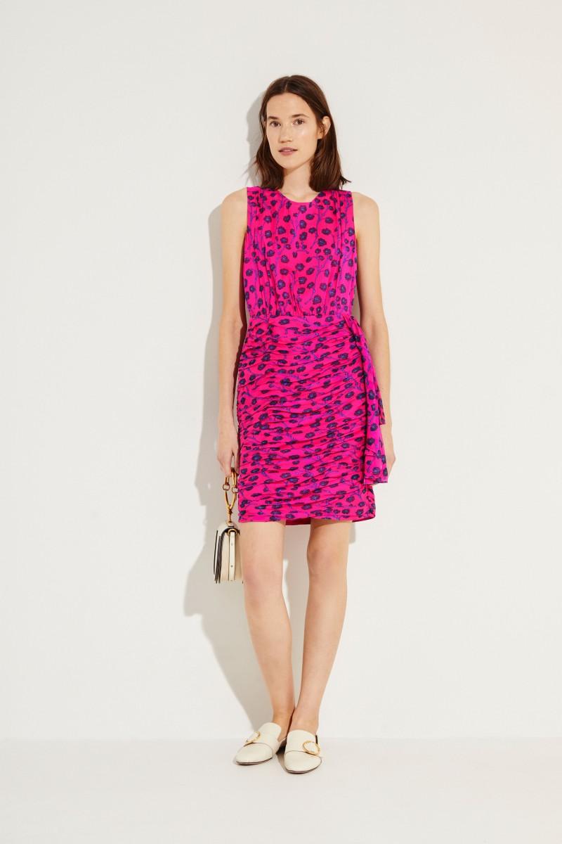 Gemustertes Seiden-Kleid 'Micah' Pink/Blau