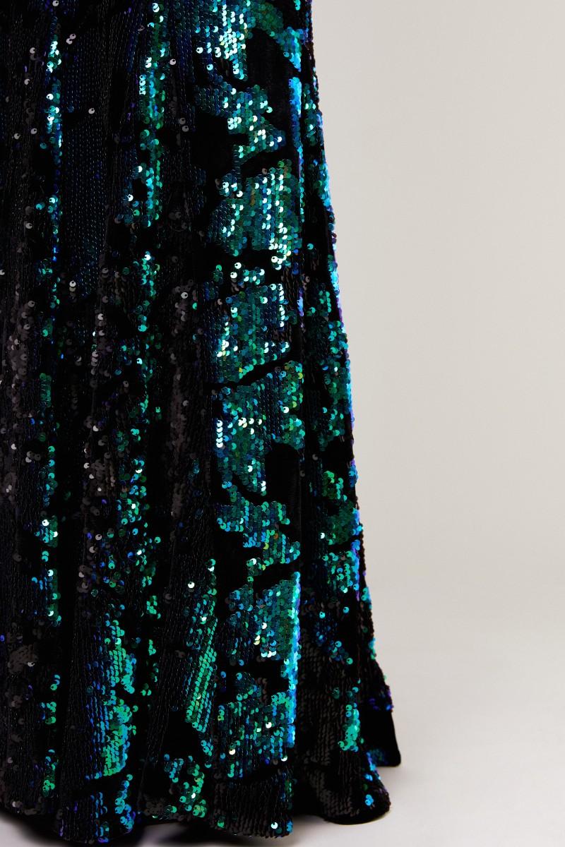 Langes Paillettenkleid 'Lorena 4' Schwarz/Multi