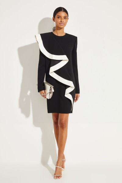 Givenchy Short dress with flounce detail Black/White