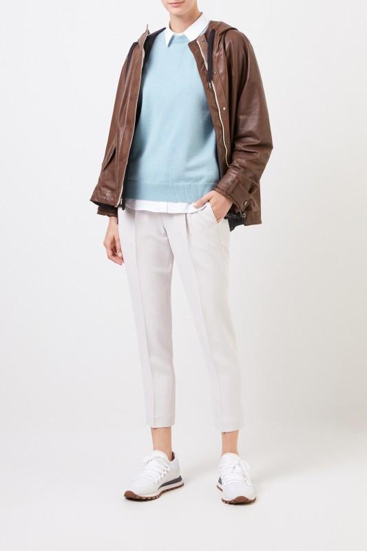 Brunello Cucinelli Cashmere-Pullover mit Perlenverzierung Türkis