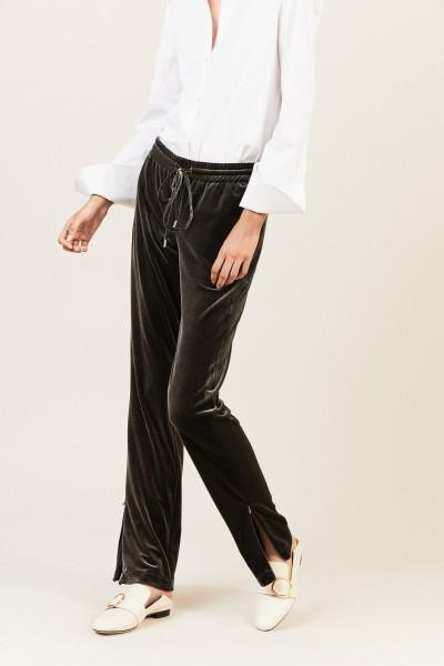 Samt-Hose 'Mia' mit Reißverschlussdetails Grau