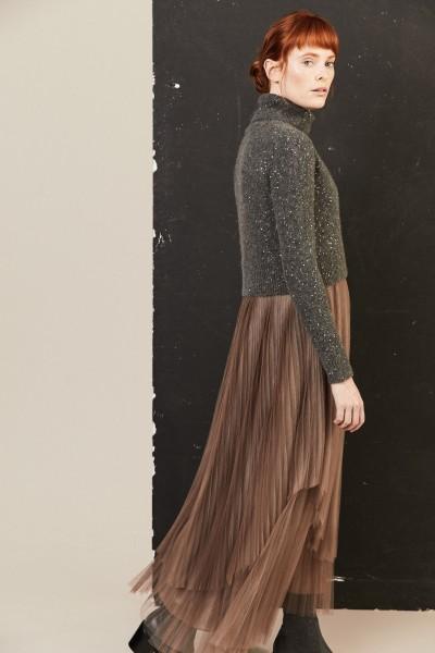Plissee-Kleid mit Woll-Pullover Beige/Grau