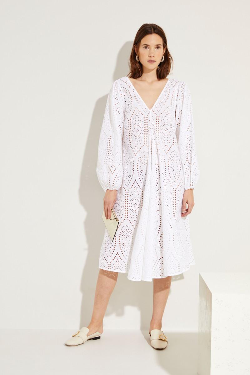 Kleid 'Falcon' mit Lochspitze Weiß