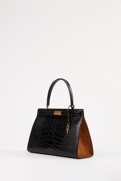 Tory Burch Bag 'Lee Radziwill' with crocodile pattern Black/Brown