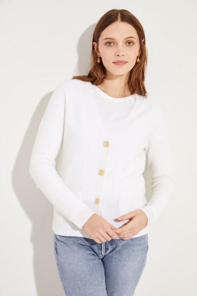 Feiner-Cashmere-Cardigan mit V-Neck Weiß