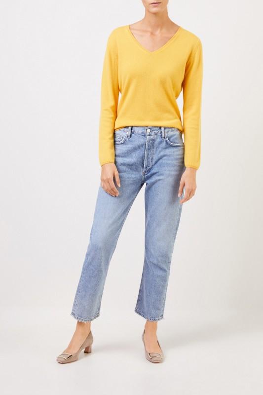Uzwei Cashmere-Pullover mit V-Neck Gelb