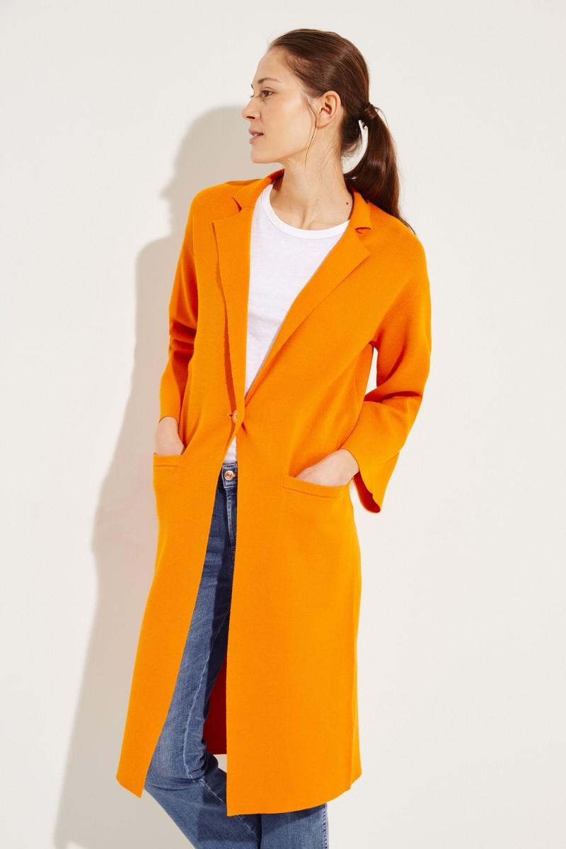 Langer Strick-Mantel Orange