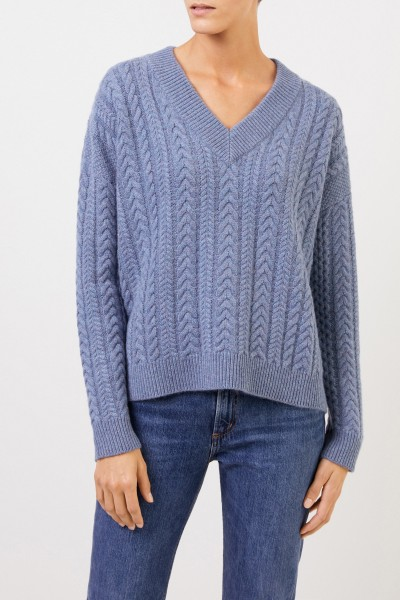 Uzwei V-neck cashmere pullover with cable stitch Blue Melange
