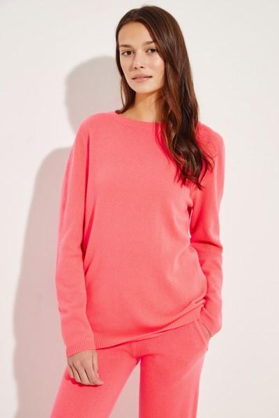 Klassischer  Cashmere-Pullover Koralle