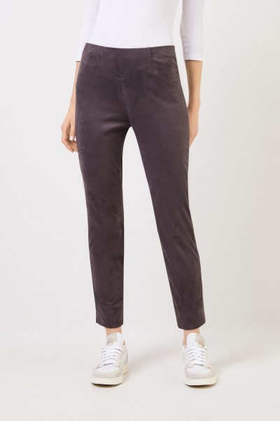 Seductive Leatherette leather trousers 'Sabrina' in suede optic Grey