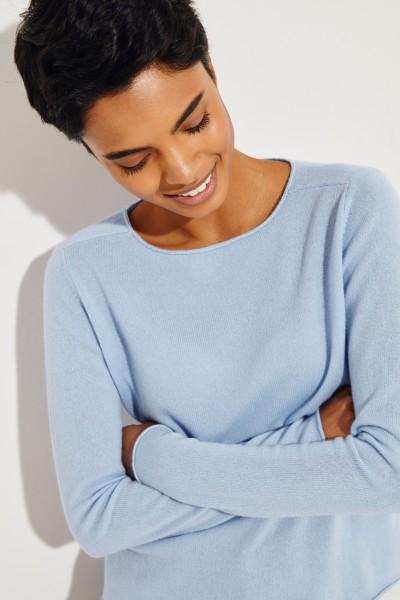 Cashmere-Pullover mit O-Neck Hellblau