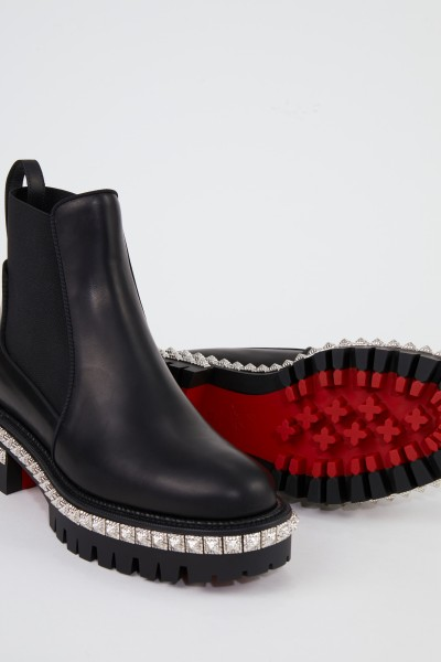 Christian Louboutin Leather Boots with Rivets Black