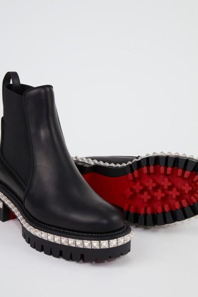 Christian Louboutin Leder-Boots mit Nieten Schwarz