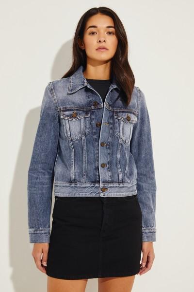 Jeansjacke mit rückseitigem Logo Blau